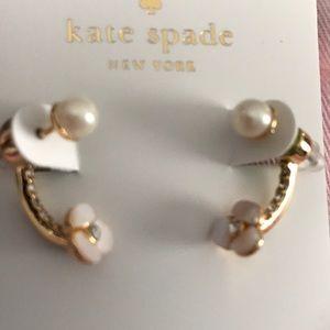 Kate spade gold disco pansy ear jacket earrings